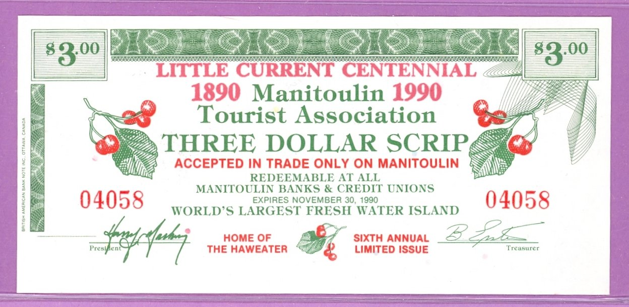 1990 Manitoulin Island Ontario Trade Note or Scrip Nindawayma Ferry