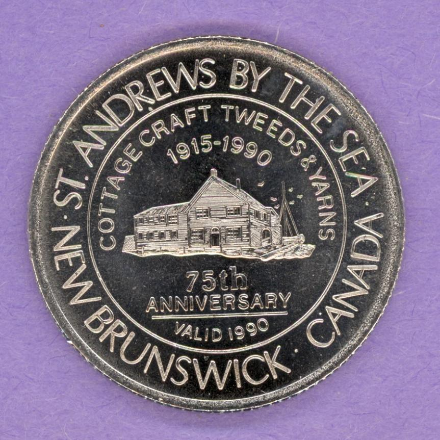 1990 St. Andrews-By-The-Sea New Brunswick Trade Token or Dollar Cottage