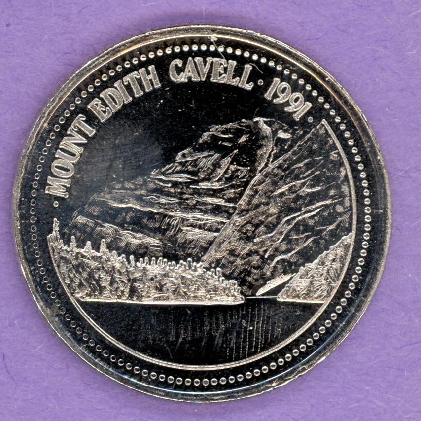 1991 Jasper Alberta Trade Token or Dollar Jasper the Bear Mount Edith Cavell