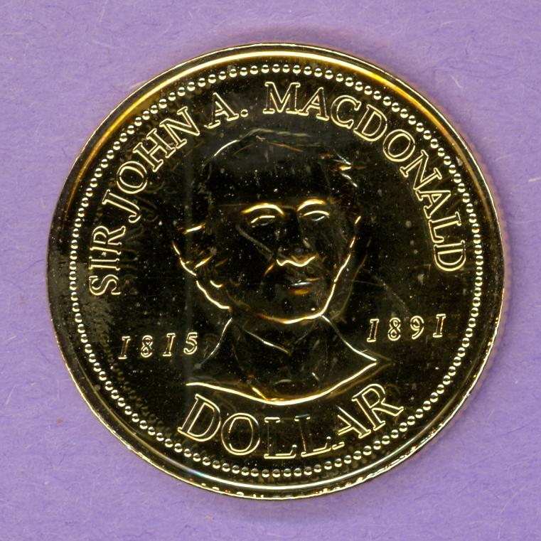 1991 Kingston Ontario Trade Token or Dollar Sir John A Macdonald GOLD PLATED