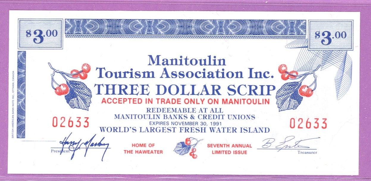1991 Manitoulin Island Ontario Trade Note or Scrip Little Current Tourism Centre