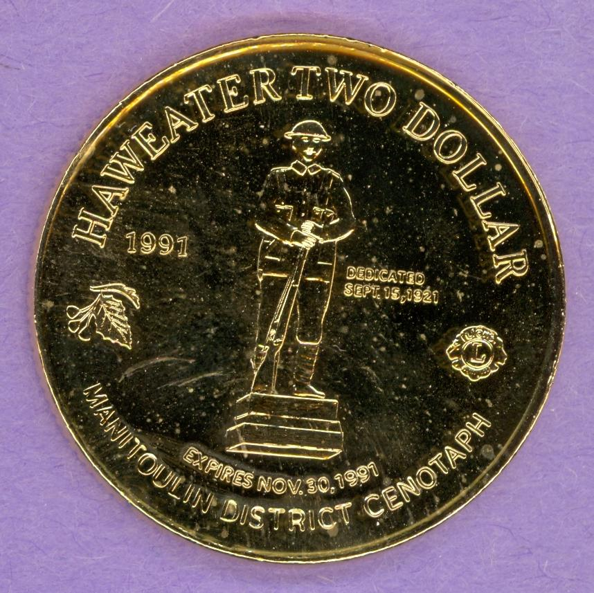 1991 Manitoulin Island ON Trade Token Gold Plate