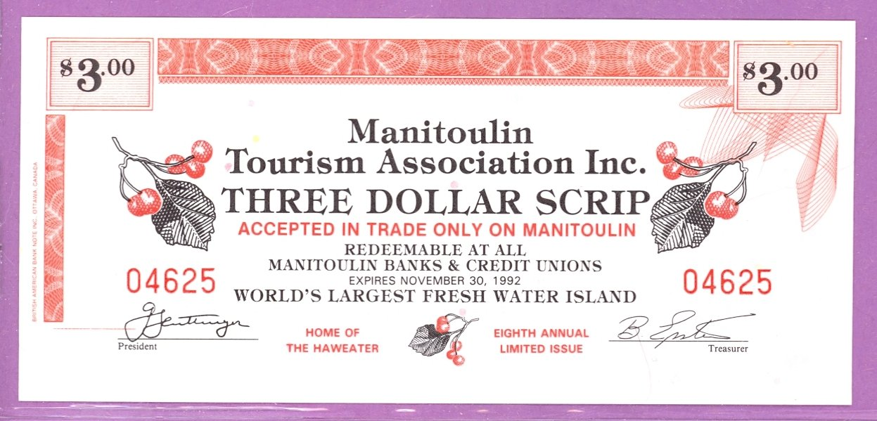 1992 Manitoulin Island Ontario Trade Note or Scrip S.S. Norisle Ferry