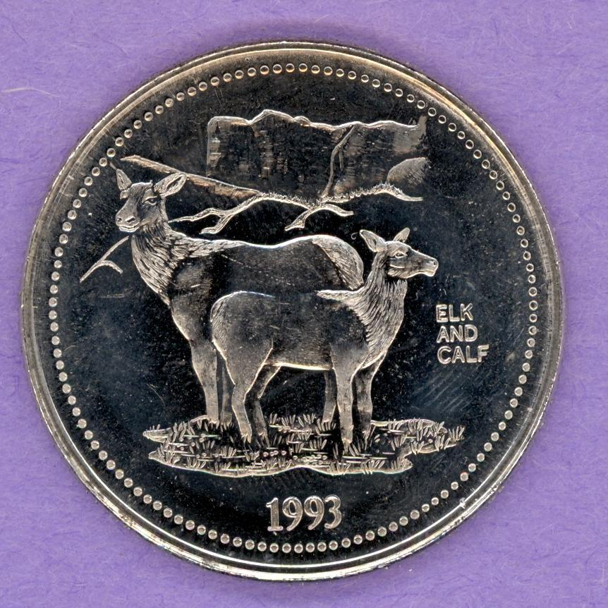 1993 Jasper Alberta Trade Token - Elk with Calf