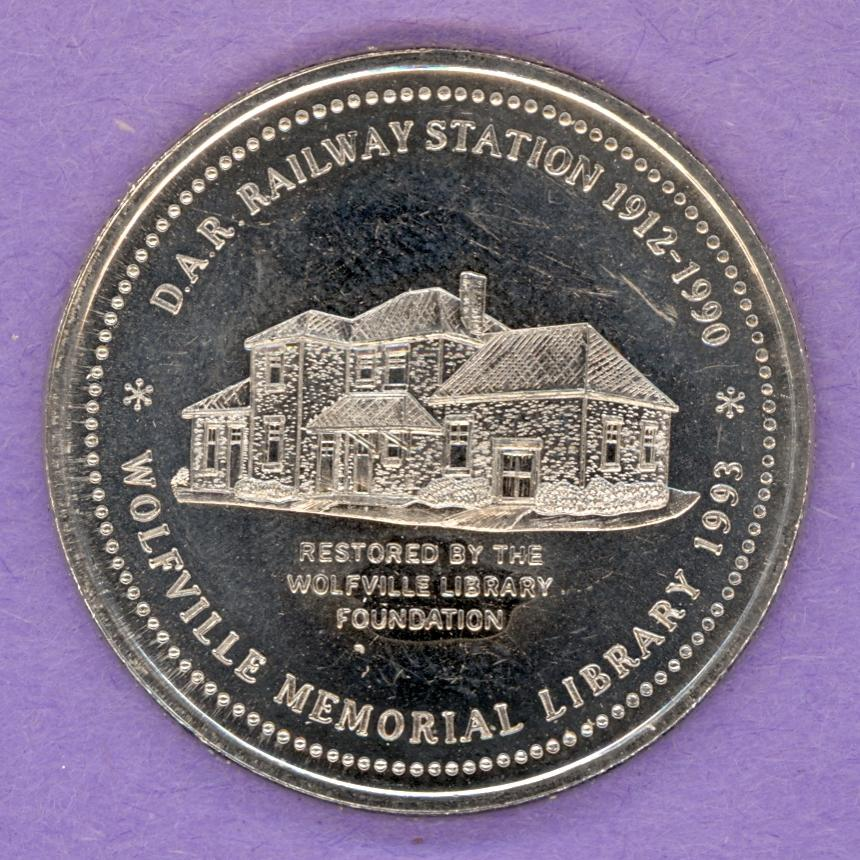 1993 Wolfville Nova Scotia Trade Token or Dollar DAR Raiway Station Library