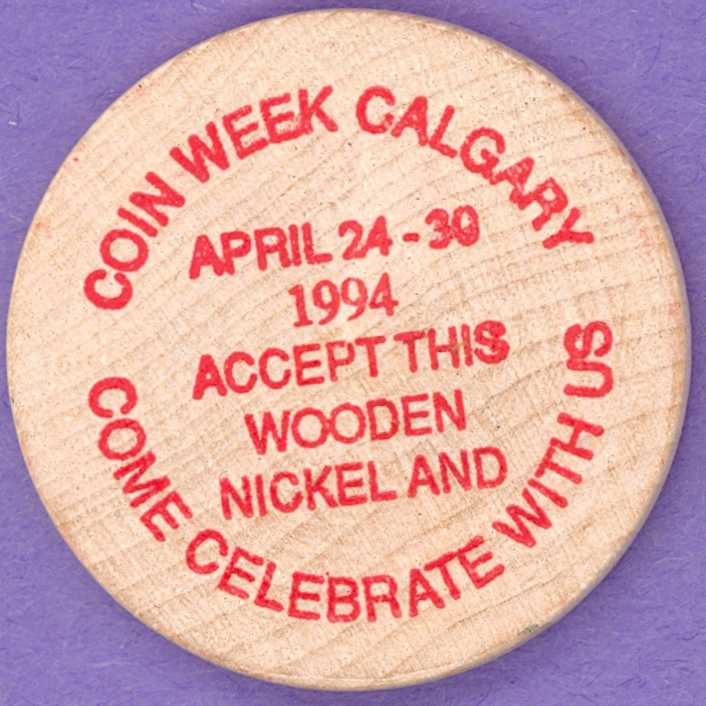 1994 Calgary Numismatic Society Wooden Nickel