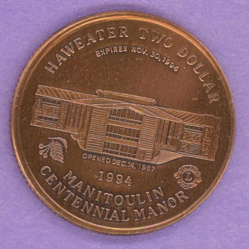1994 Manitoulin Island, Ontario Trade Dollar - Copper Plate