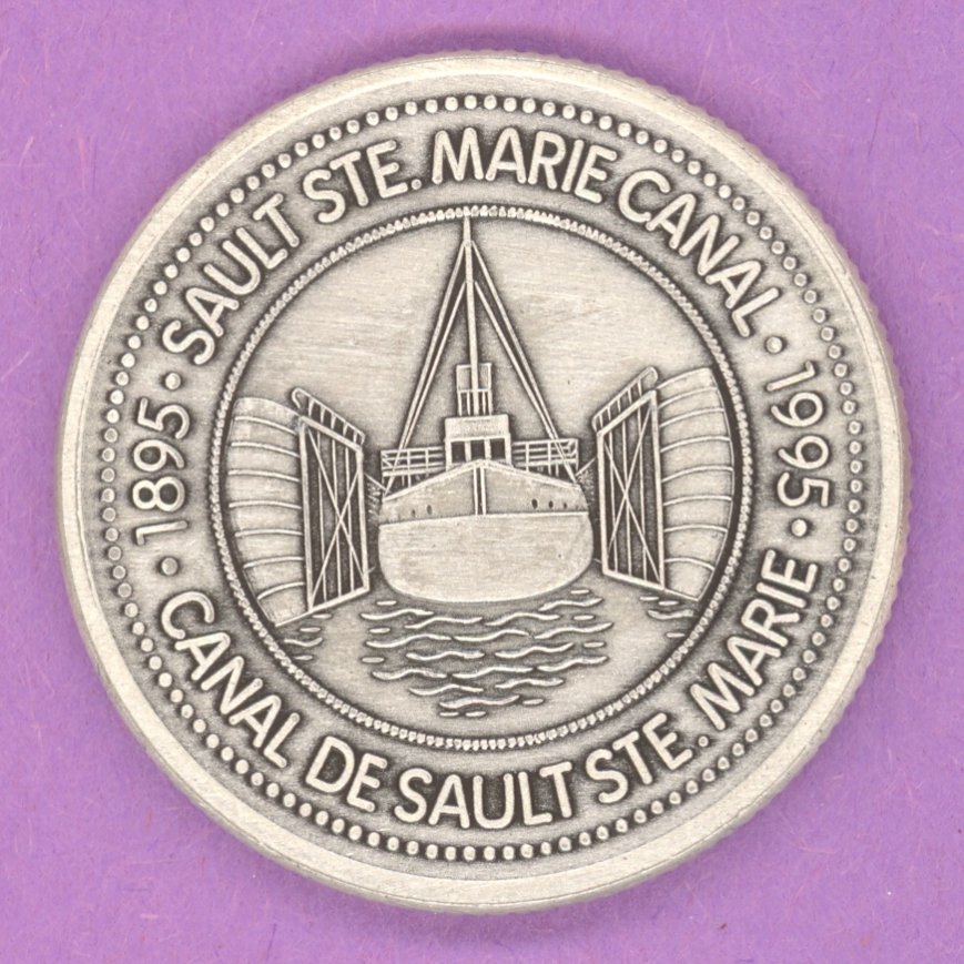 1995 Sault Ste. Marie Ontario Municipal Trade Token or Dollar Francis H Clergue Cargo Ship in Canal ANTIQUE SILVER PLATE