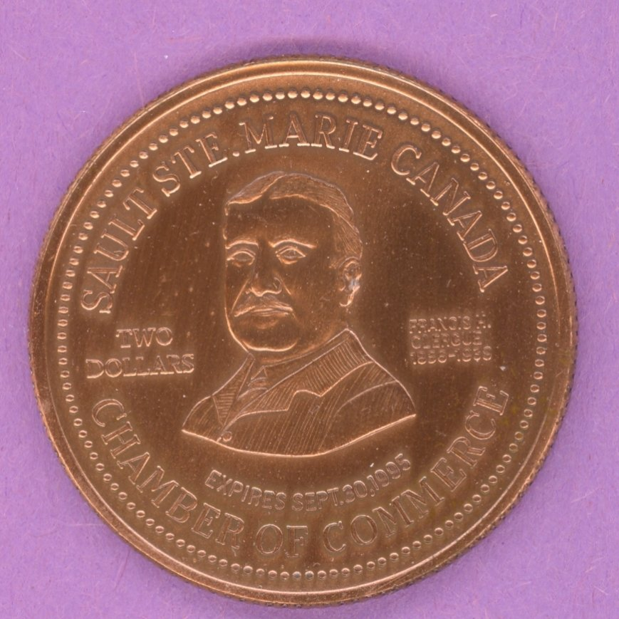 1995 Sault Ste. Marie Ontario Municipal Trade Token or Dollar Francis H Clergue Cargo Ship in Canal ANTIQUE COPPER PLATE
