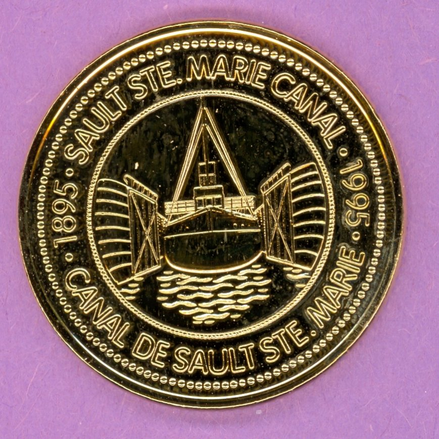 1995 Sault Ste. Marie Ontario Municipal Trade Token or Dollar Francis H Clergue Cargo Ship in Canal GOLD PLATED