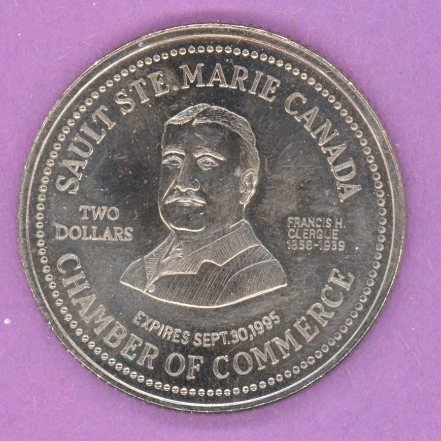 1995 Sault Ste. Marie Ontario Municipal Trade Token or Dollar Francis H Clergue Cargo Ship in Canal
