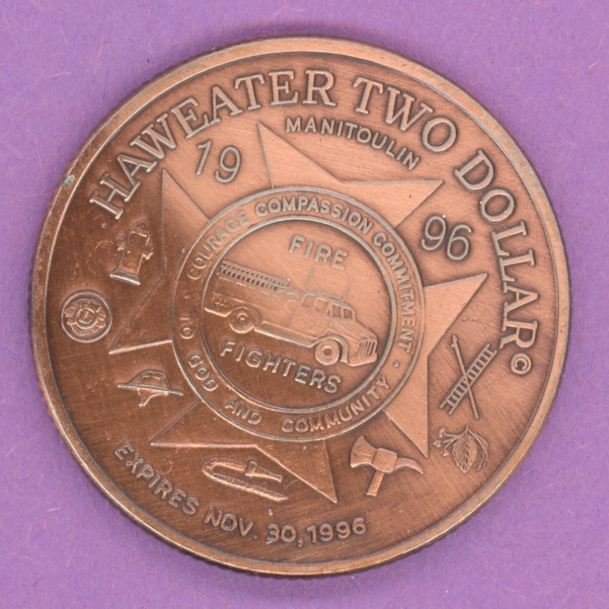 1996 Manitoulin Island, Ontario Trade Dollar or Token Fire Fighters ANTIQUE COPPER PLATE