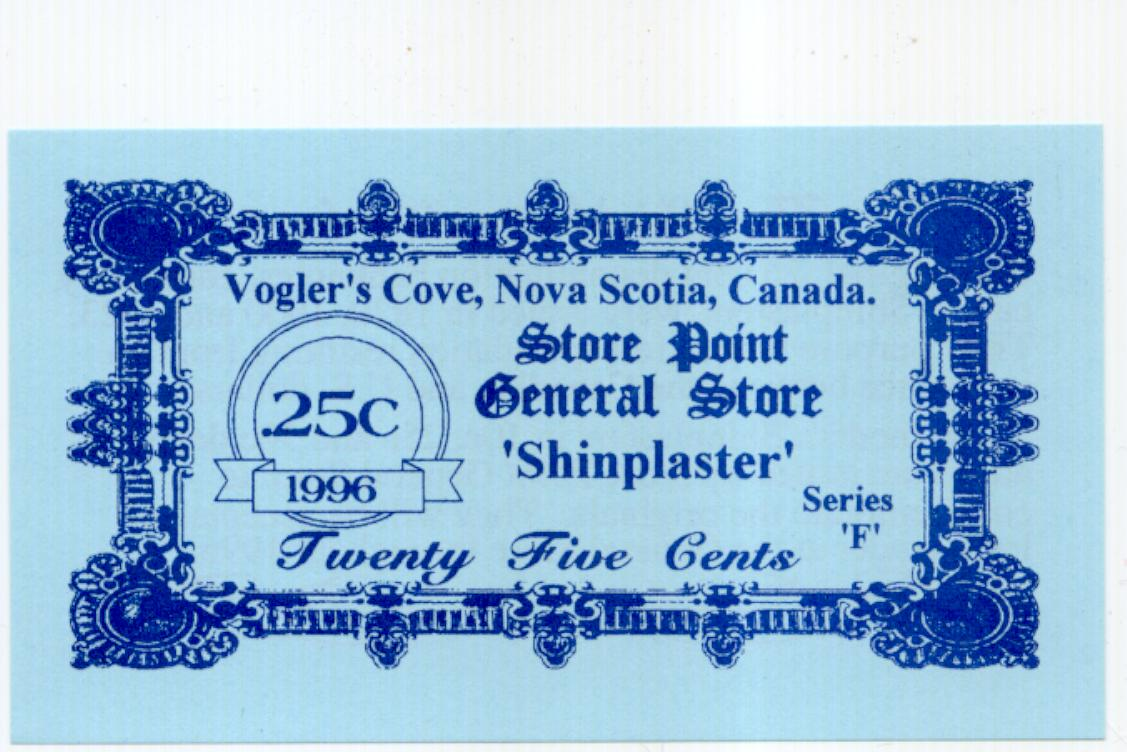 1996 Store Point General Store 25 cent shinplaster
