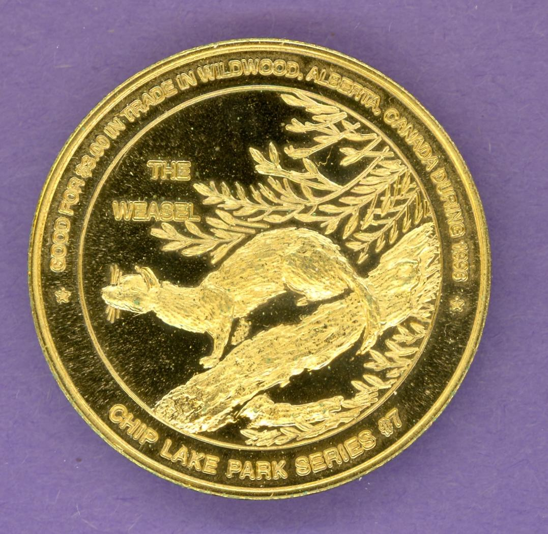 1996 Wildwood Alberta Trade Dollar Weasel Gold Plate