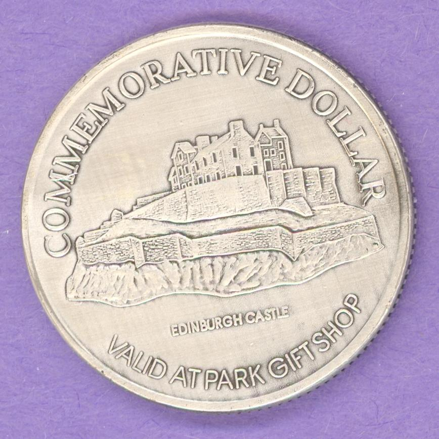 1997 Baddeck Nova Scotia Private Trade Token Edinburgh Castle Ant Silver Plate