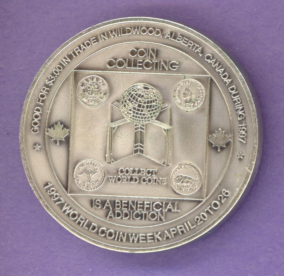1997 Wildwood Alberta Trade Dollar Coin Week Antique Silver
