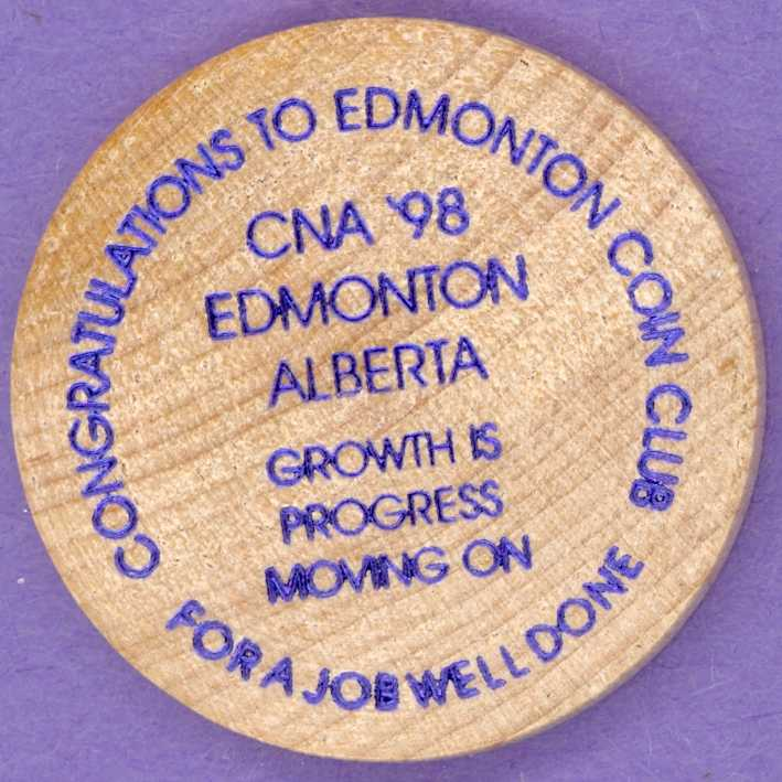 1998 CNA Edmonton Wooden Nickel - Bill and Mae Popynick