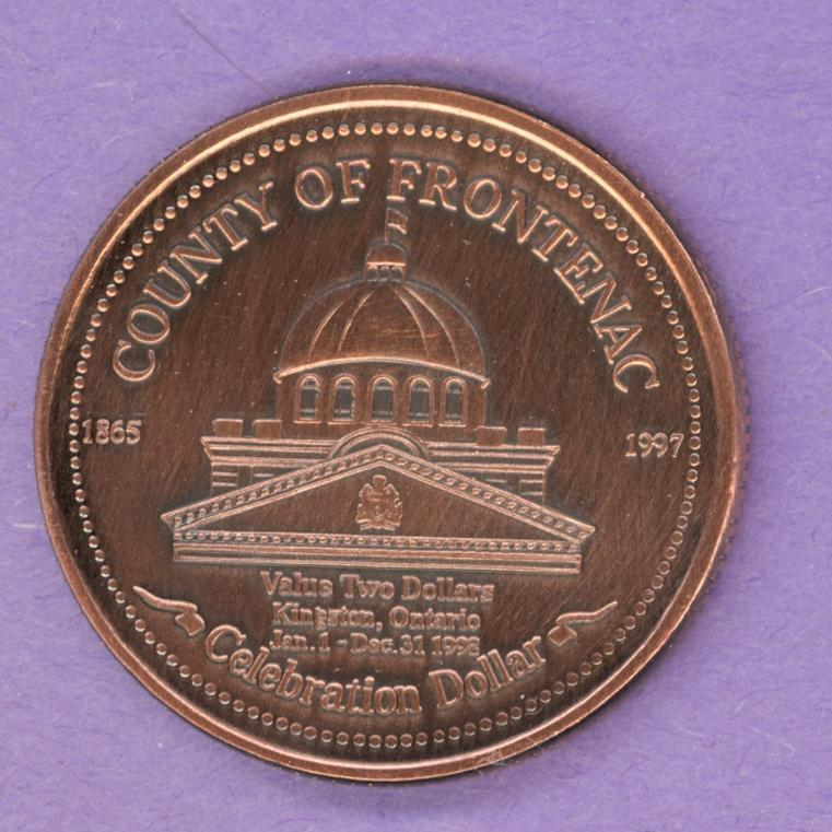 1998 Kingston Ontario Trade Token or Dollar 2nd Strike Court House Plow ANTIQUE BRONZE PLATE
