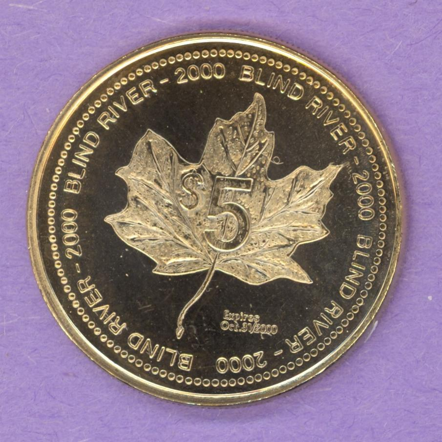 2000 Blind River Ontario Trade Token or Dollar Loggers' Memorial Maple Leaf Gold Plated