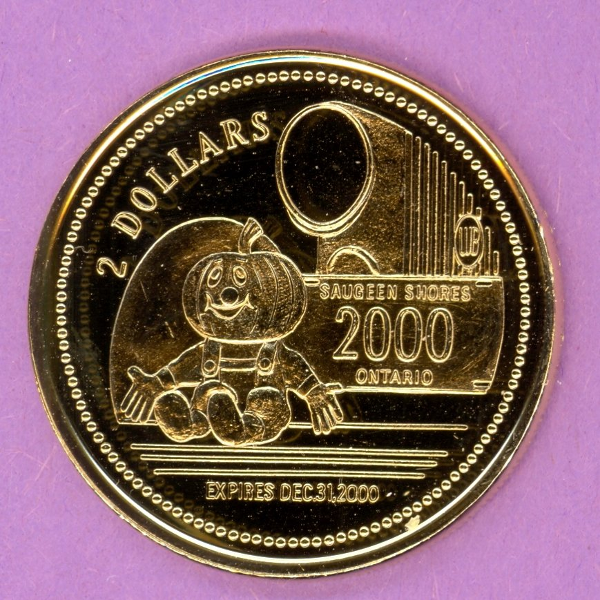2000 Saugeen Shores Ontario Municipal Trade Token or Dollar Home of Pumpkinfest GOLD PLATED