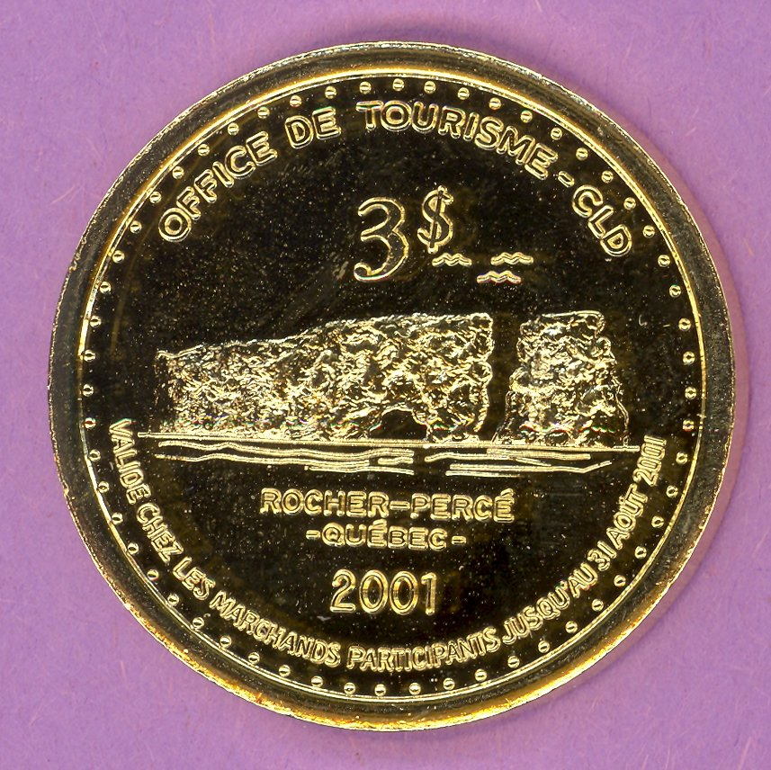 2001 Chandler Quebec Municipal Trade Token or Dollar Rock Crest GOLD PLATED