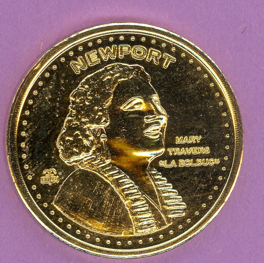 2001 Newport Quebec Municipal Trade Token or Dollar Rock Mary Travers GOLD PLATE