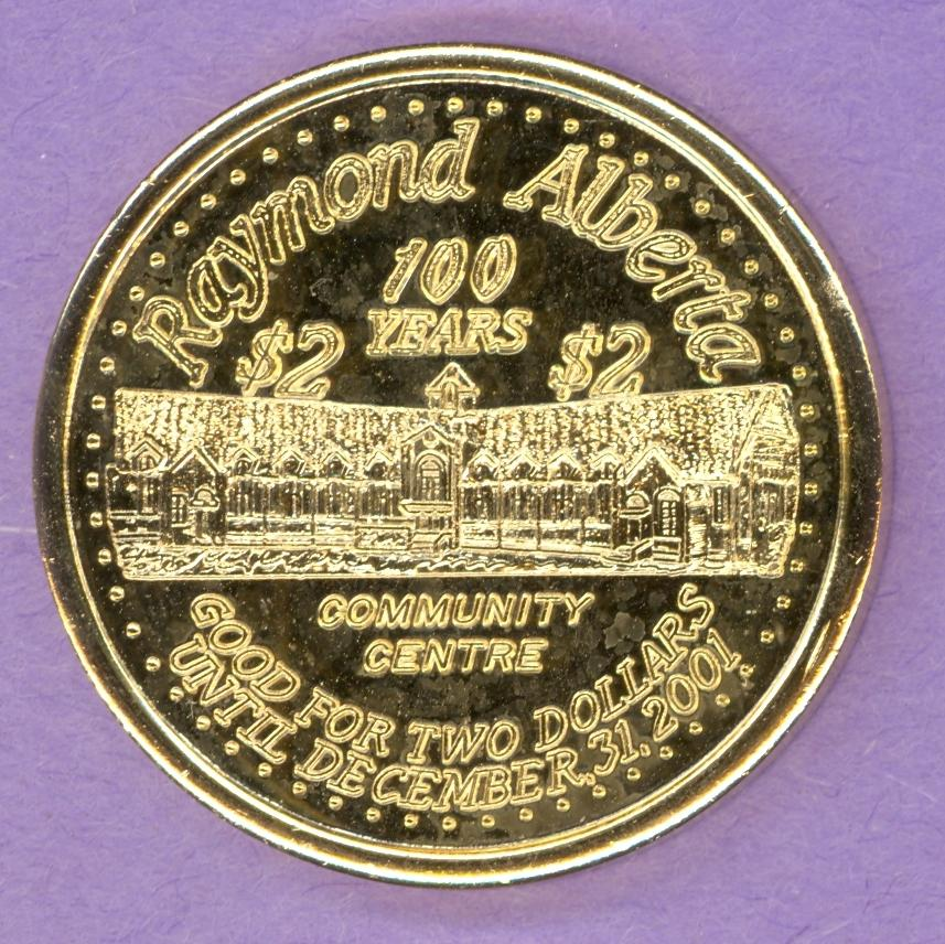 2001 Raymond Alberta Trade Token Centennial Community Centre 1st Strike GOLD PLATED