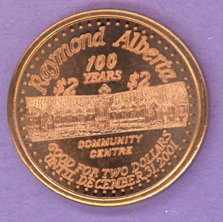 2001 Raymond Alberta Trade Token Centennial Community Centre 1st Strike COMMERCIAL BRONZE