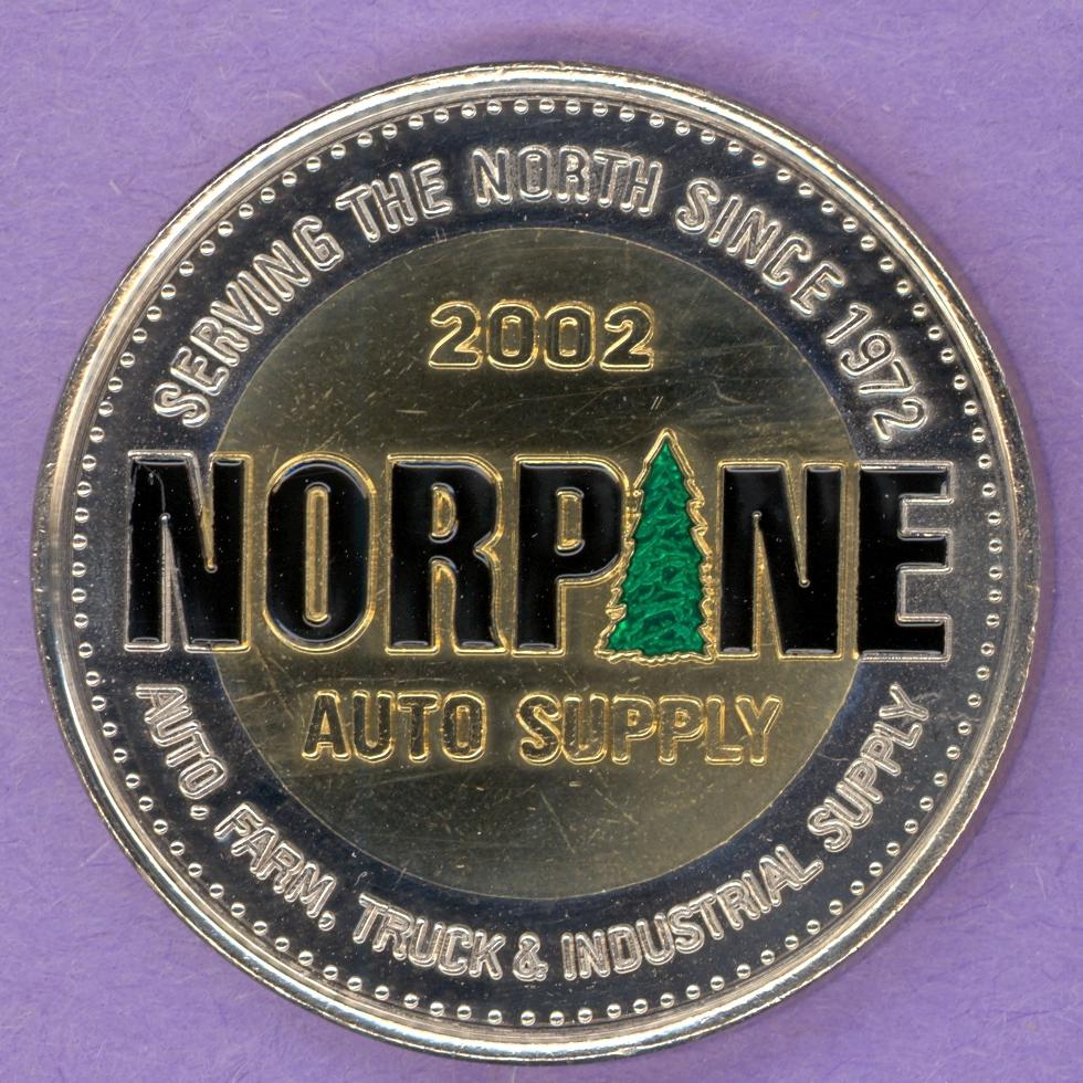 2002 La Crete Alberta Trade Token or Dollar Norpane Auto Supply Trees Enameled Bimetallic