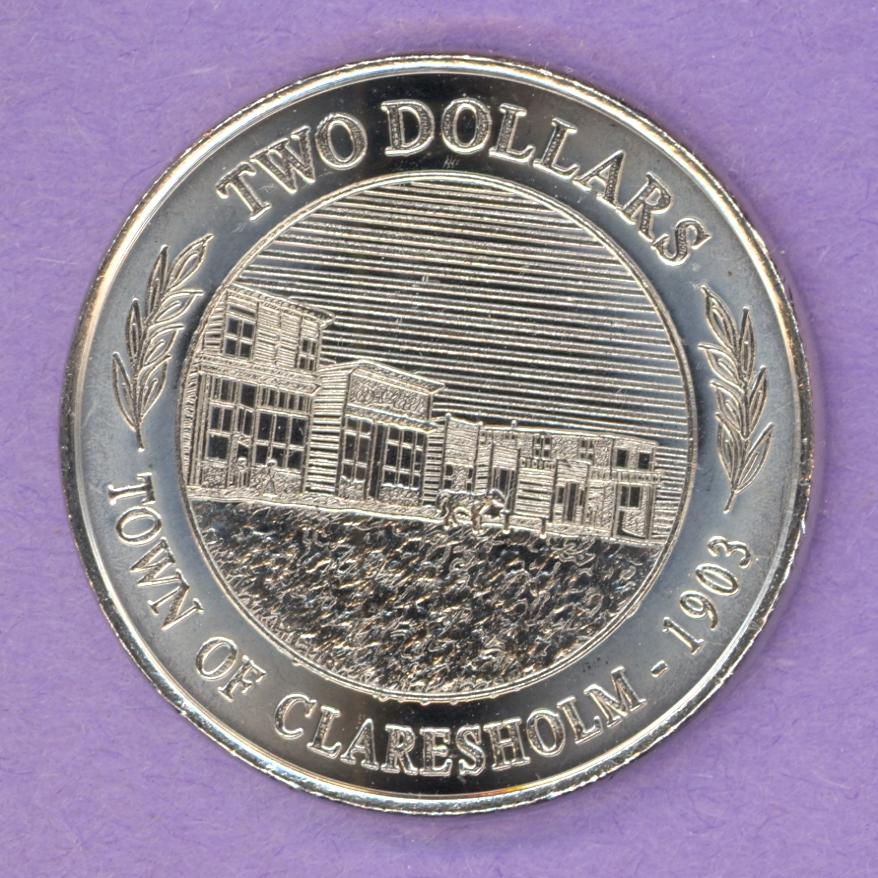 2003 ERROR Claresholm Alberta Trade Token Locomotive Street Scene Water Tower