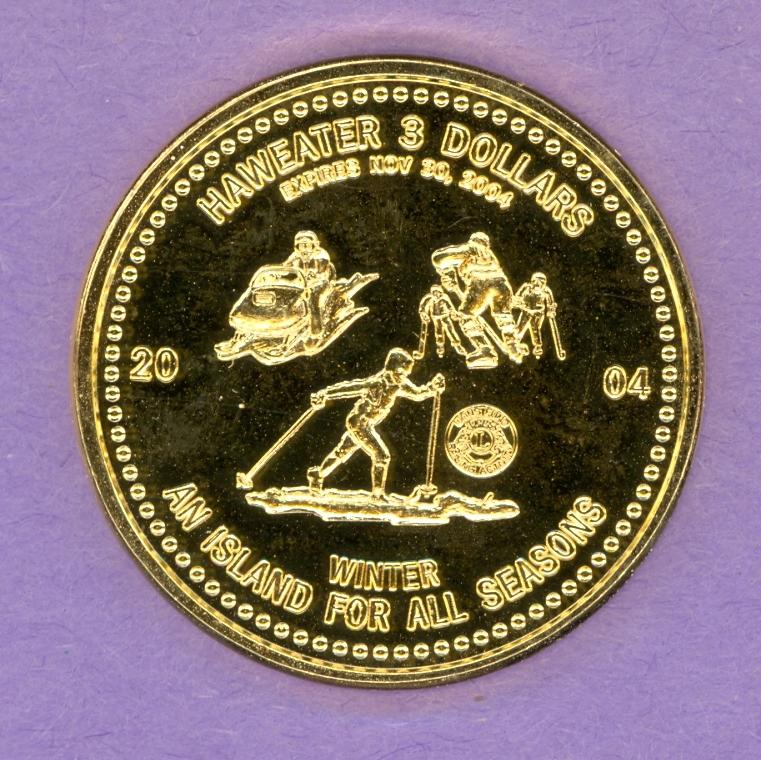2004 Manitoulin Island Ontario Trade Token Winter Scenes Island GOLD PLATED