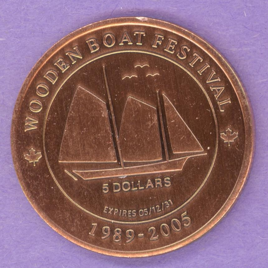 2005 Mahone Bay Nova Scotia Trade Token Schooner Churches 1st Strike ACuP