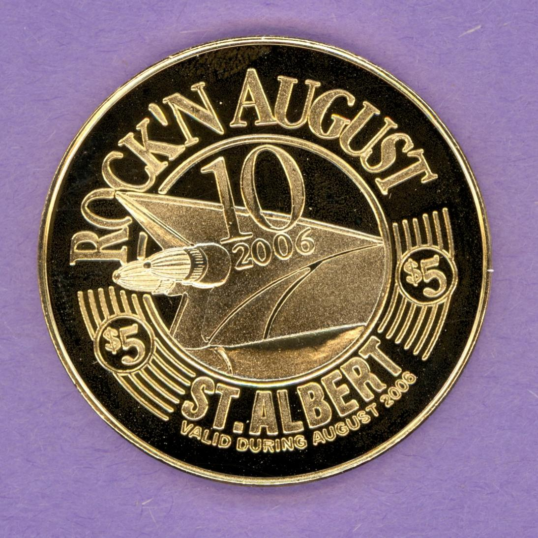 2006 St. Albert Alberta Trade Token Rock'n August Festival Cars Music Gold Plated