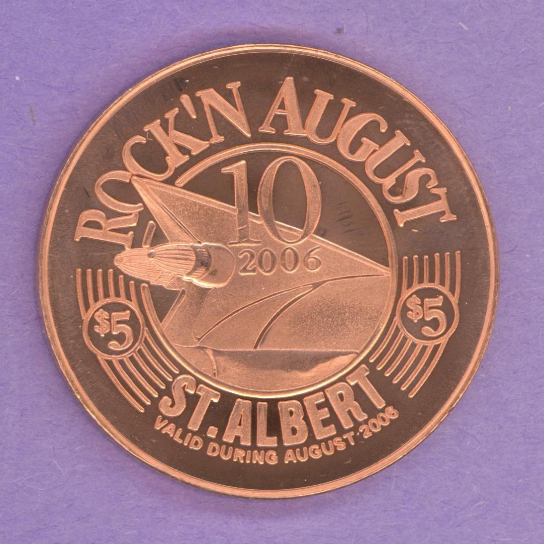 2006 St. Albert Alberta Trade Token Rock'n August Festival Cars Music Copper