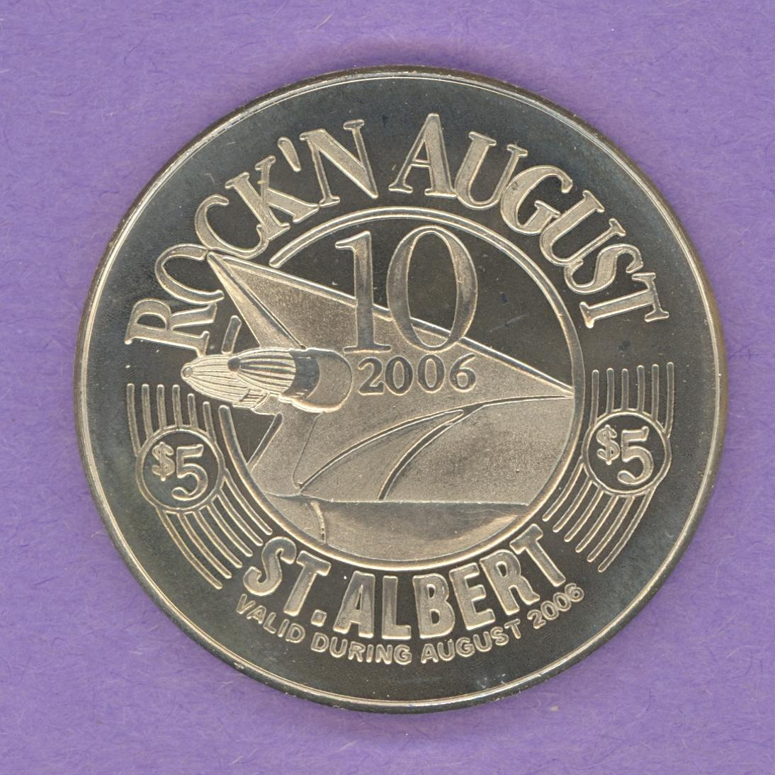 2006 St. Albert Alberta Trade Token Rock'n August Festival Cars Music Nickel Silver