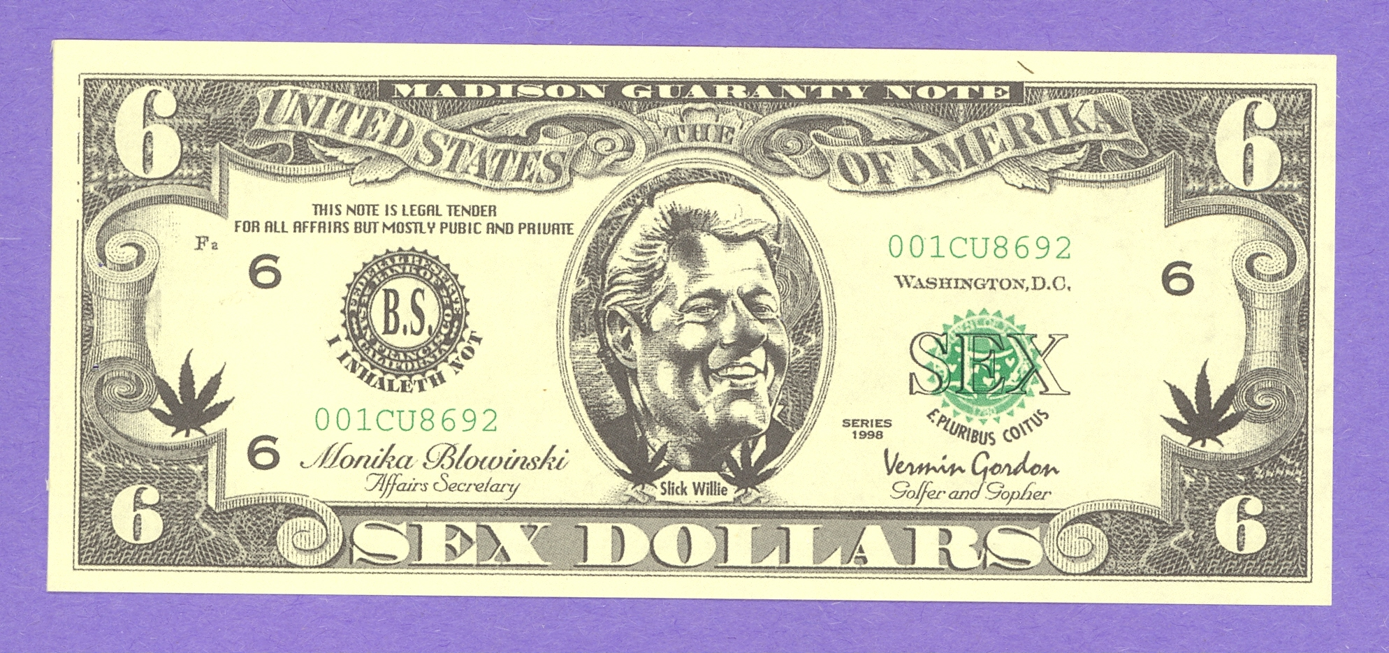 Bill Clinton Sex Dollar Note