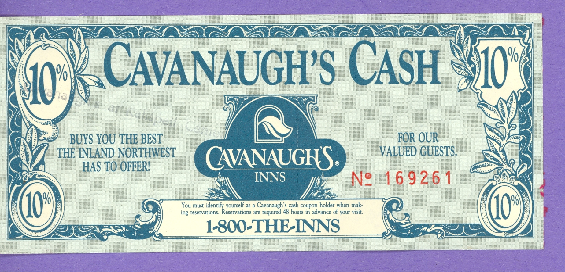 1990 Cavanaugh's Cash 10% off at Cavanaugh's Inns