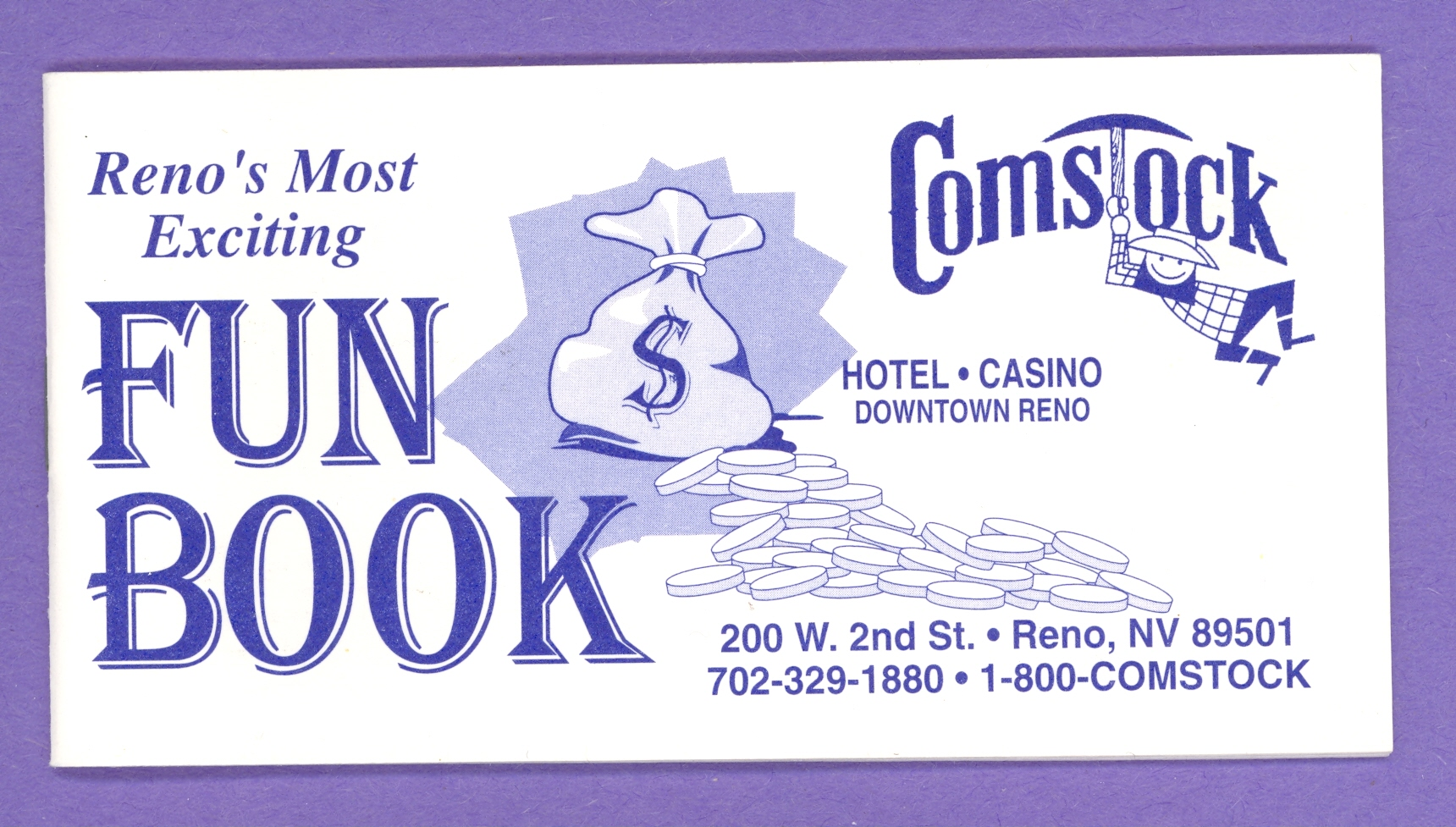Comstock Hotel and Casino Fun Book Reno Nevada