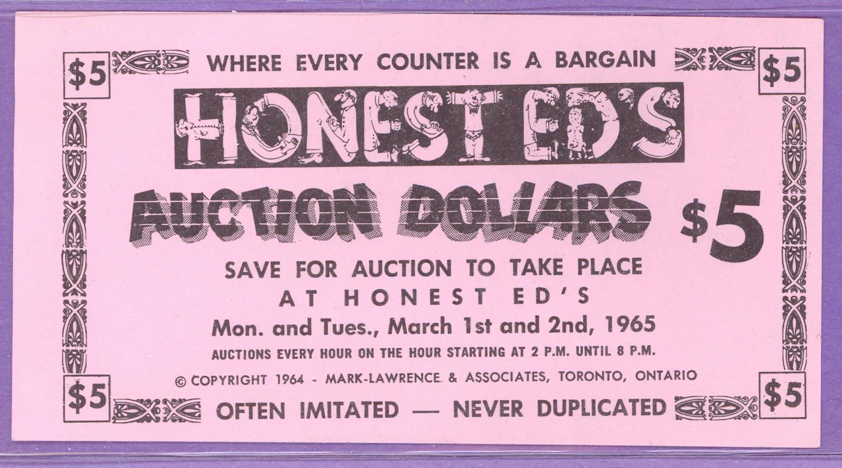 Honest Ed's Auction Dollars $5 Toronto, Ontario