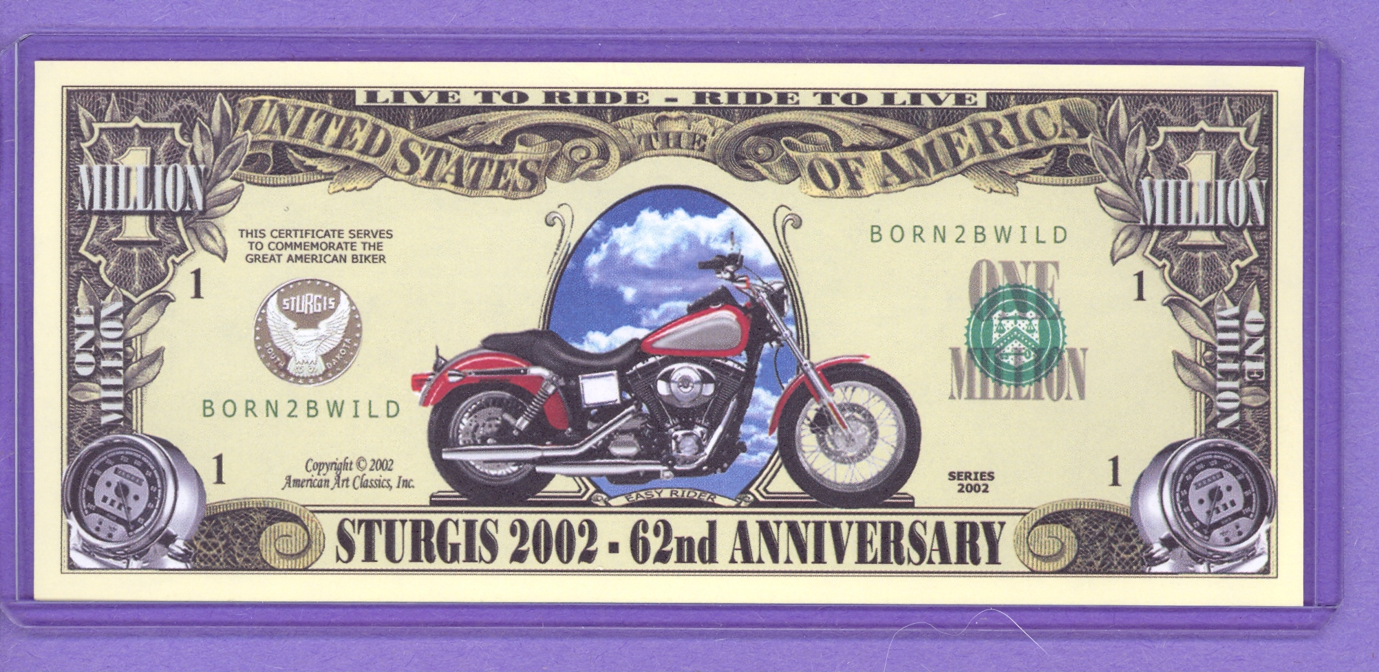 Sturgis 2002 - 62nd Anniversary Motorcycle $1,000,000 note