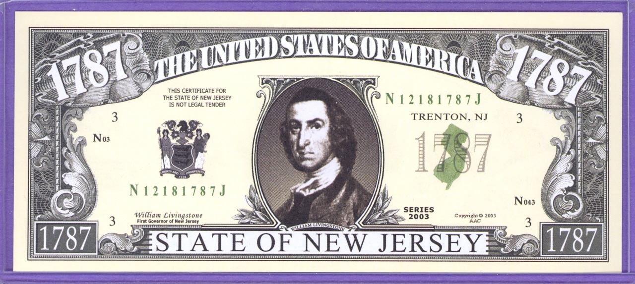 State of New Jersey Novelty or Fantasy Note