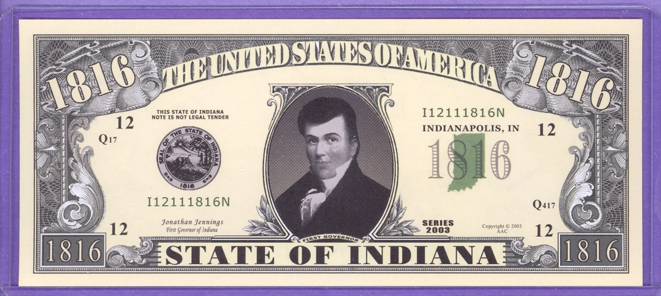 State of Indiana Novelty or Fantasy Note