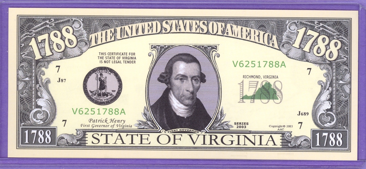 State of Virginia Novelty or Fantasy Note