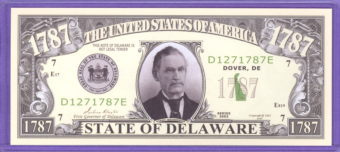 State of Delaware Novelty or Fantasy Note