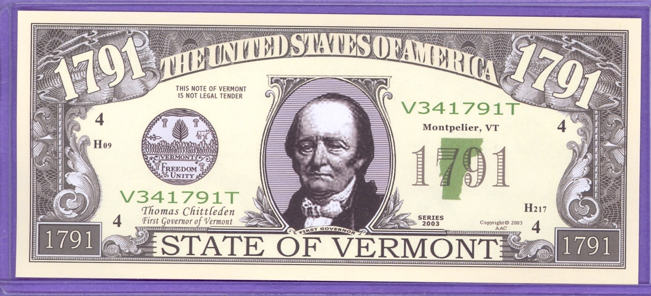 State of Vermont Novelty or Fantasy Note