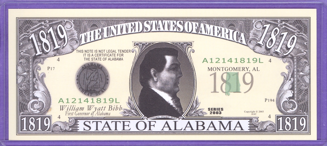 State of Alabama Novelty or Fantasy Note