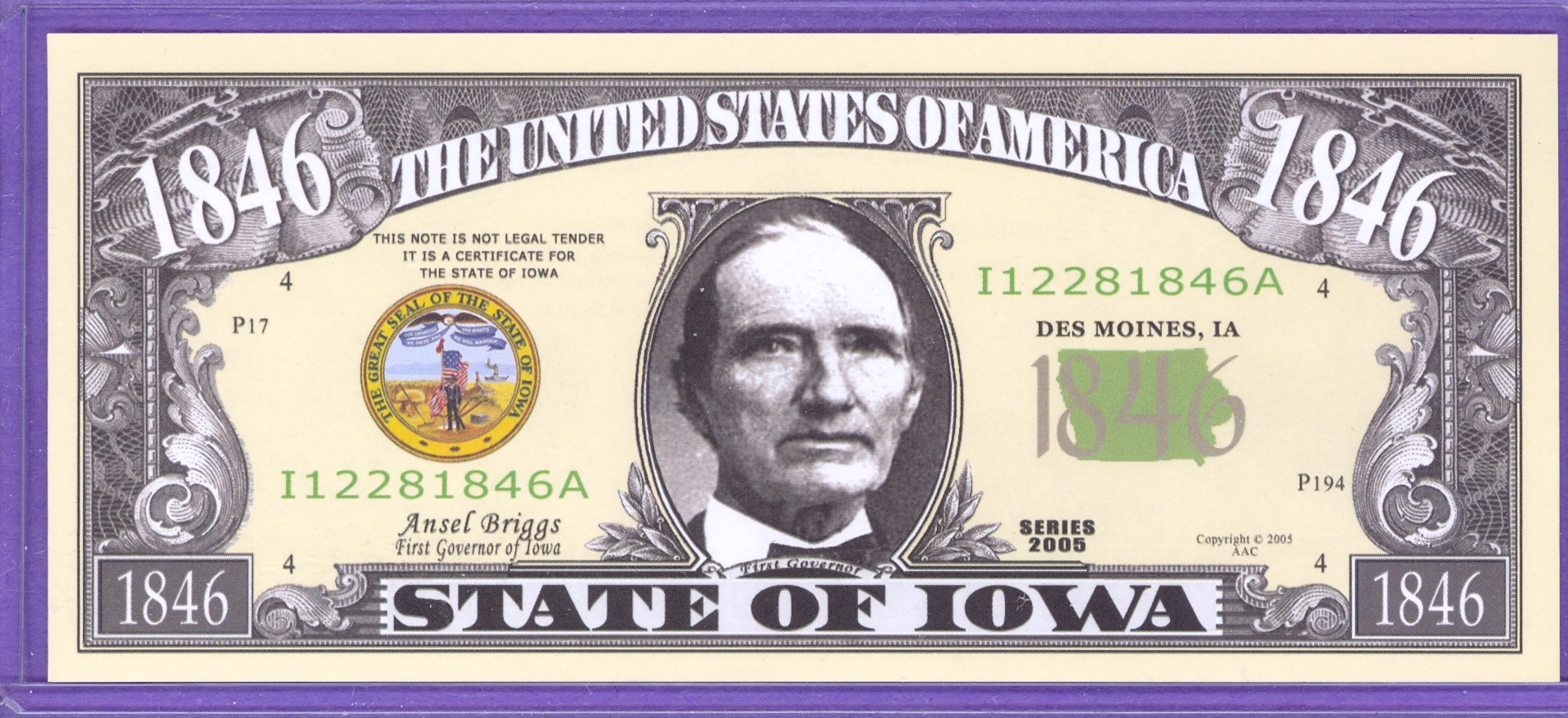 State of Iowa Novelty or Fantasy Note