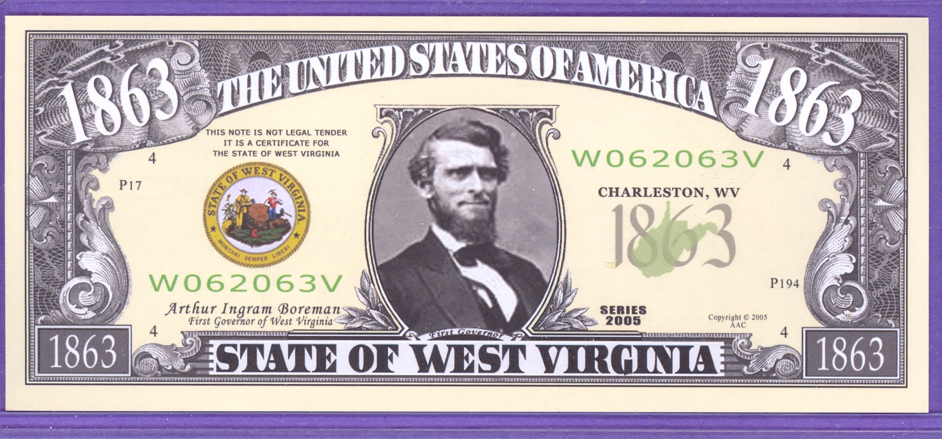 State of West Virginia Novelty or Fantasy Note