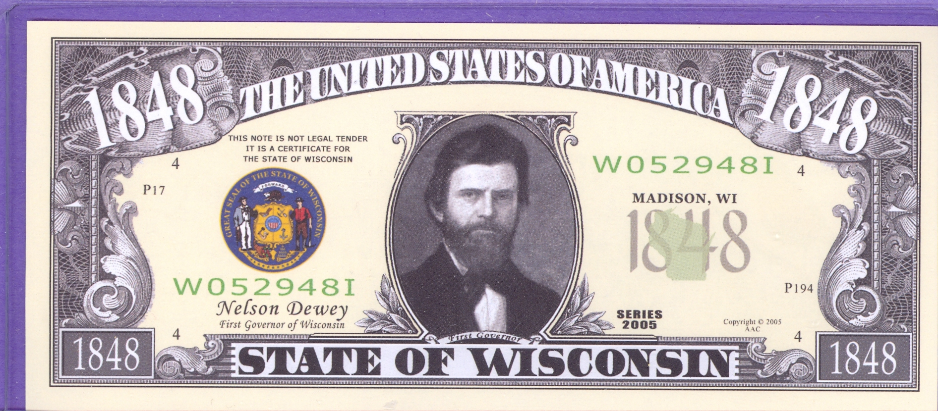 State of Wisconsin Novelty or Fantasy Note