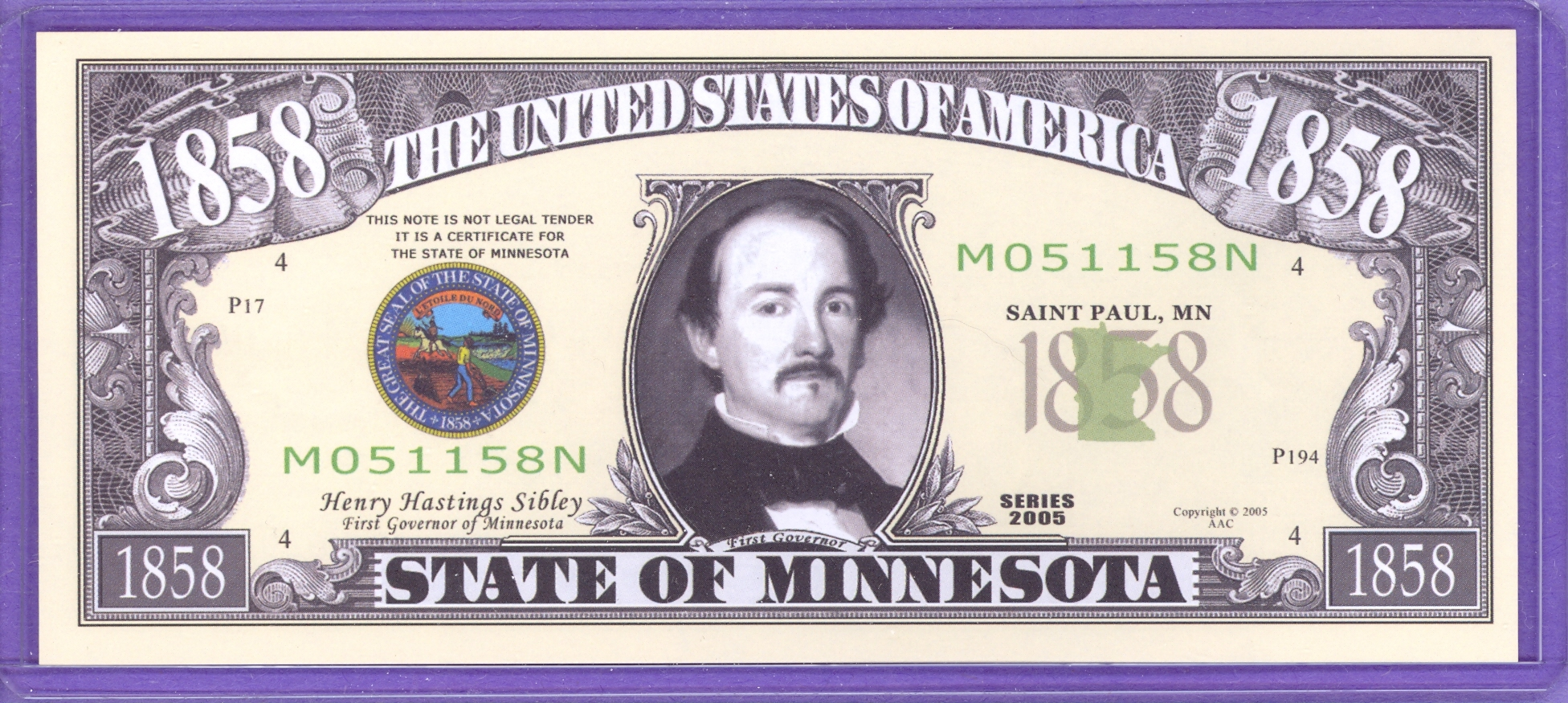 State of Minnesota Novelty or Fantasy Note